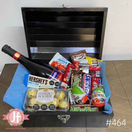 464-Cofre Lambrusco, Ferrero y chocolates surtidos