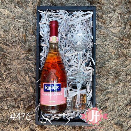 476-Caja Lambrusco Rosa, botana y copa