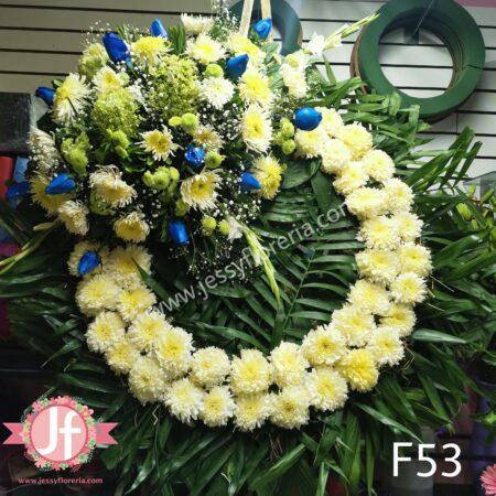 Corona fúnebre rosas azules