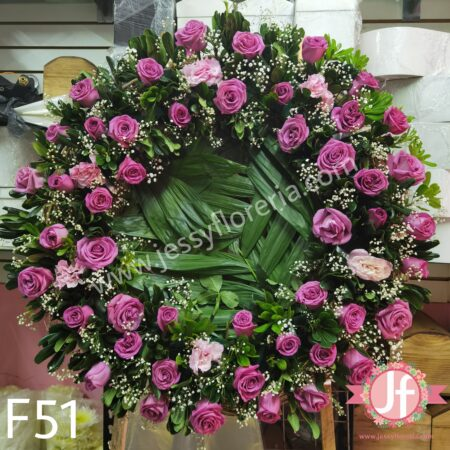 F51-Corona 50 rosas rositas