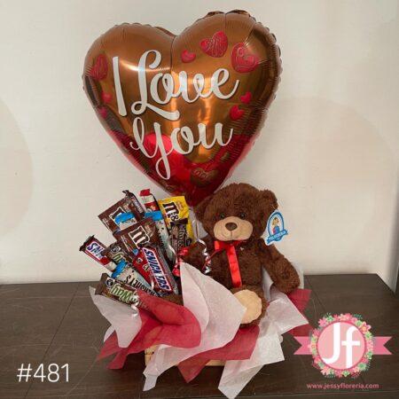 481-Caja con chocolates, peluche y globo de amor