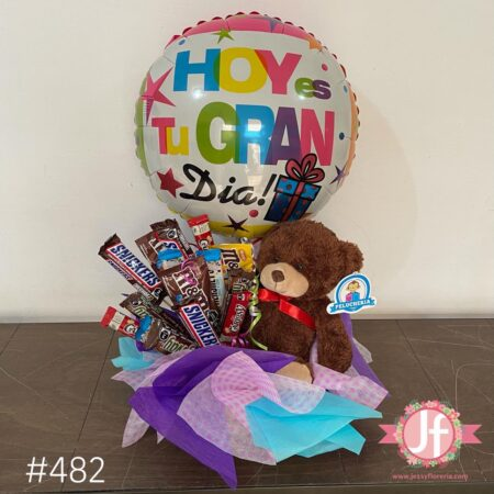 482-Caja con chocolates, peluche y globo de cumpleaños