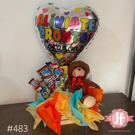 483-Caja con chocolates, peluche y globo de recupérate