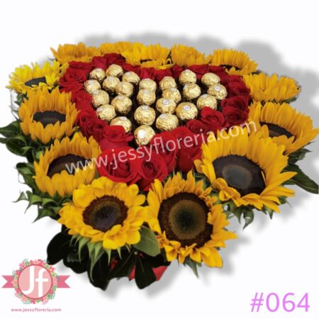 064 Corazon de girasoles rosas y ferreros