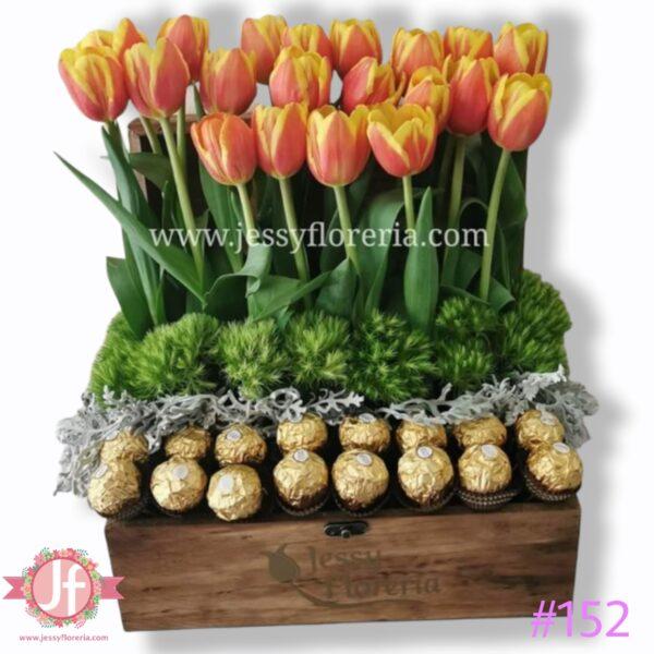152-Cofre de tulipanes con ferreros