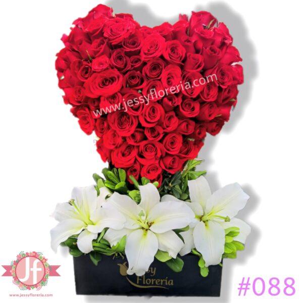 088 Corazón de 100 rosas rojas
