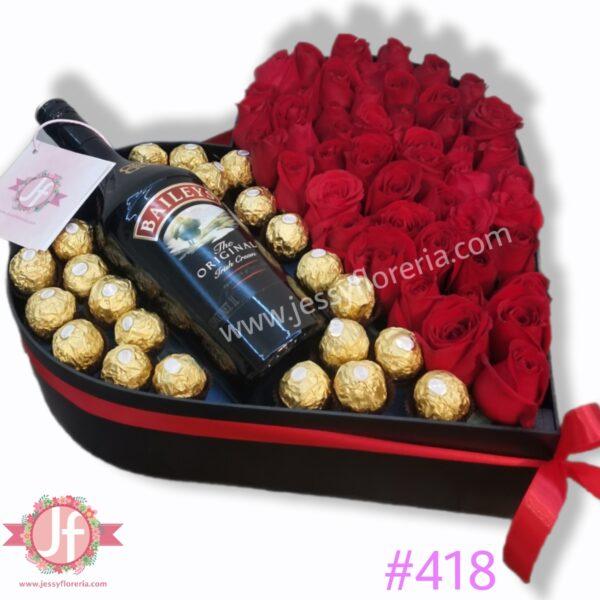 418 Corazon 50 rosas, Baileys y Ferreros