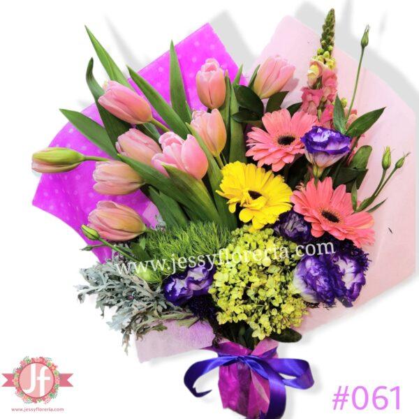 061 Bouquet de tulipanes y gerberas