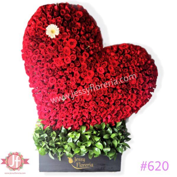 #620 Corazón 500 rosas rojas