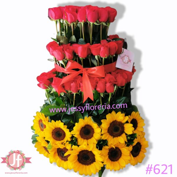 #621 Caja 25 girasoles y 120 rosas