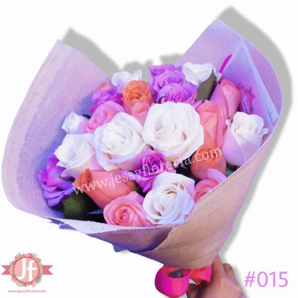 #015 24 Rosas tonos rosas